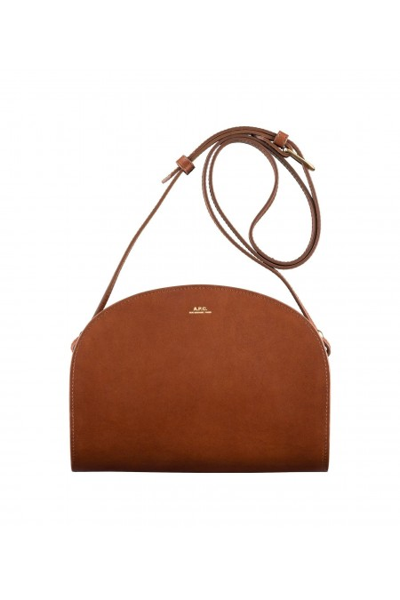 Nut-brown half moon bag