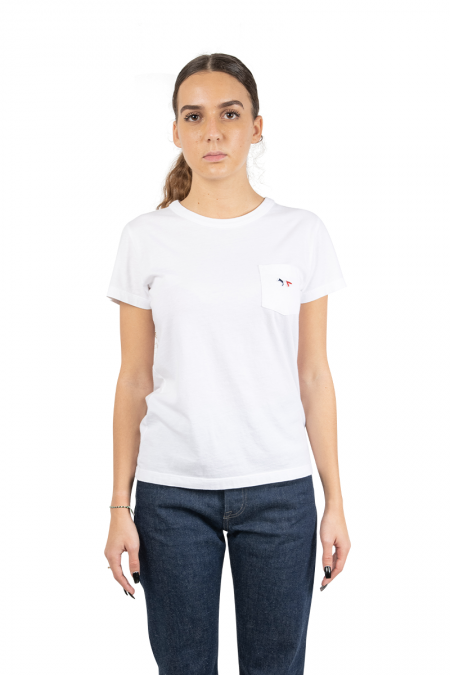 White tricolor fox t-shirt
