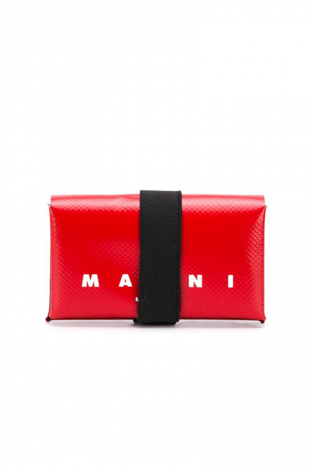 Red pvc origami wallet