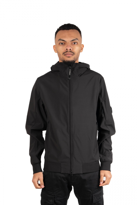 Black patch soft shell jacket