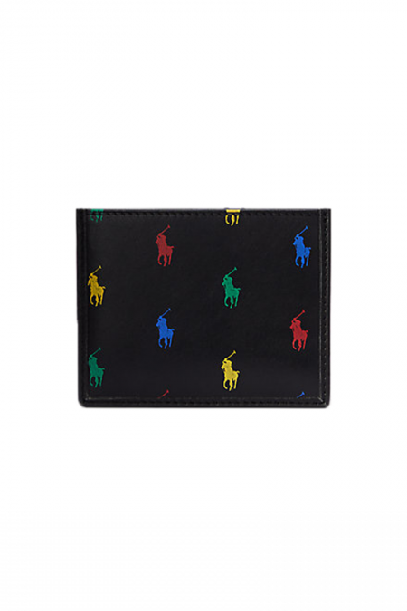 Black wallet multi logo
