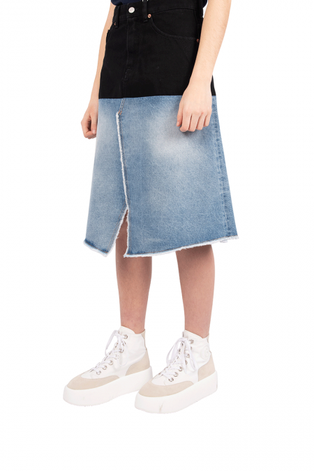Spliced denim skirt