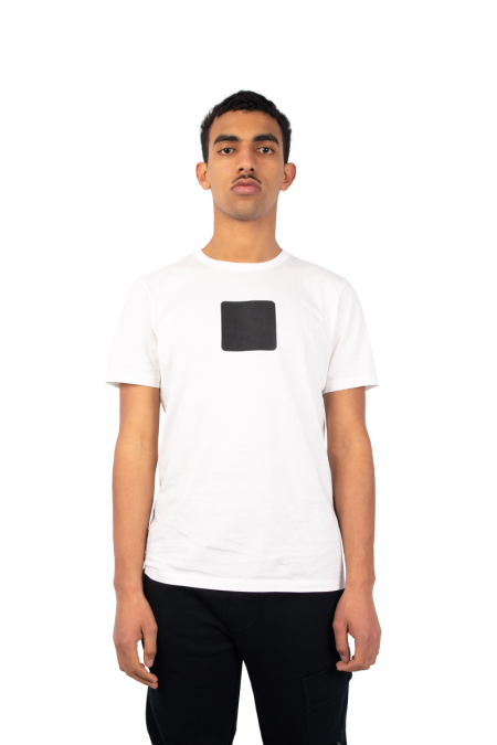 T-shirt patch central blanc