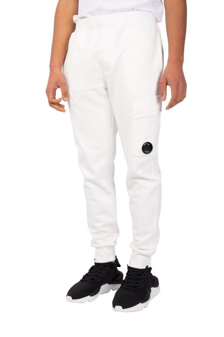 White cargo track pants