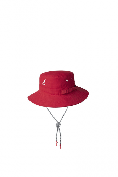 Red utility cords jungle hat