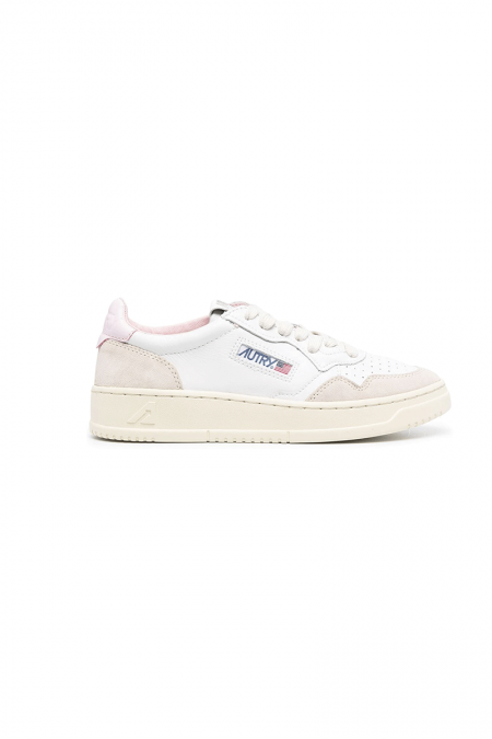 Low leather suede white pink