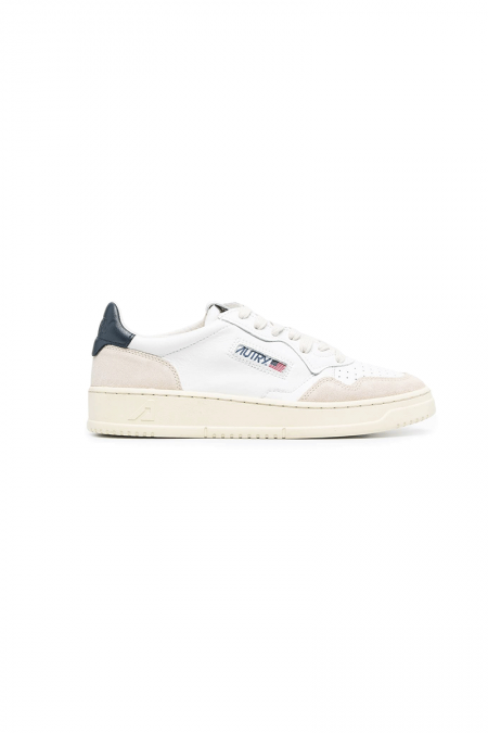 Low leather suede blanche bleu