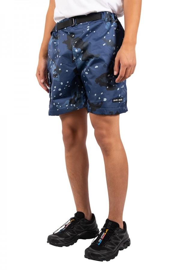 Blue camo nylon cargo shorts